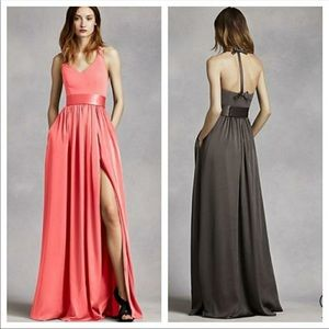 Vera Wang V Neck Halter Gown with Sash SZ 8 CORAL